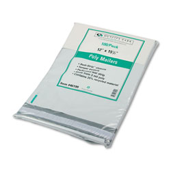 Quality Park Recycled Plain White Poly Mailers with Redi Strip™ Closure, 12 x 15 1/2, 100/Pack