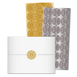 Quality Park Decorative Foil Envelope Seals, 42/PK, Gold/Silver