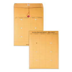 Quality Park Interoffice Envelopes, Kraft String Tie, Printed 2 Sides, 10x13, 100/Carton