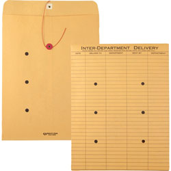Quality Park Interoffice Envelopes, Kraft String Tie, Printed One Side, 10x13, 100/Carton