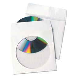 Quality Park Products Tech-No-Tear CD/DVD Sleeve, 4 7/8x5, White, 100/box