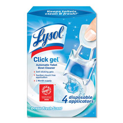 Lysol Click Gel Automatic Toilet Bowl Cleaner, Ocean Fresh, 0.17oz, 4/Box, 5Bx/Crtn
