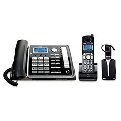 RCA Telephone, 6.0, 2-Line, Corded/Corless, Caller ID, Black/Silver