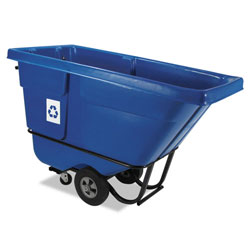 Rubbermaid 750 Pound Black Plastic Recycling Tilt Cart