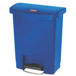 Rubbermaid Slim Jim Resin Step-On Container, Front Step Style, 8 gal, Blue