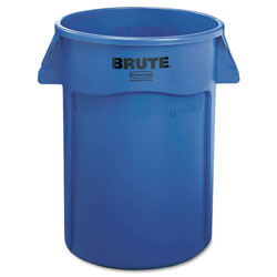 Rubbermaid Brute Round Plastic Outdoor Trash Can, 44 Gallon, Blue