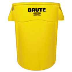 Rubbermaid Brute Vented Trash Receptacle, Round, 44 gal, Yellow