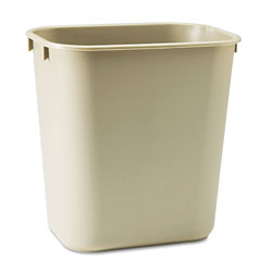 Rubbermaid Plastic Desk Wastebasket, 3 1/2 GAL, Beige