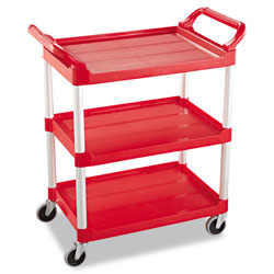 "Rubbermaid Red Utility Cart with 4"" dia Swivel Casters"