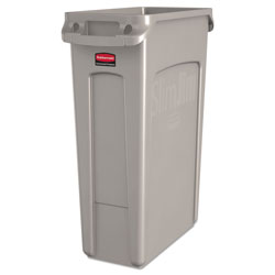Rubbermaid Slim Jim® Plastic Indoor Trash Can, 23 Gallon, Beige