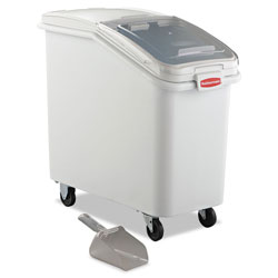 Rubbermaid White Slant Front Ingredient Bin with Sliding Lid and 32 Ounce Scoop, 3 1/2 cu ft.