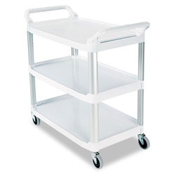 Rubbermaid Cream X Tra Three Shelf Utility Cart, Open All Sides