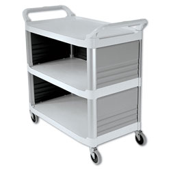 Rubbermaid Cream X Tra Three Shelf Bussing Cart, Enclosed On 3 Sides