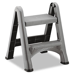 Rubbermaid Two-Step Folding Plastic Step Stool, 300-lb. Capacity, Dark Gray