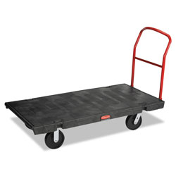 "Rubbermaid Black Heavy-Duty Platform Truck w/Polyolefin Casters, Crossbar Handle, 60"" x 30"""