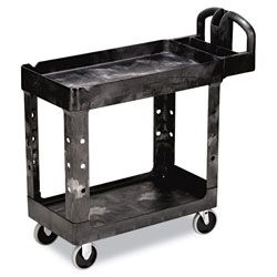 "Rubbermaid Black Heavy Duty 2 Shelf Utility Cart, 17 1/8 "" x 39 1/4"""
