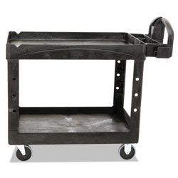 "Rubbermaid Black Heavy Duty 2 Shelf Utility Cart, 25 7/8"" x 45 1/4"""