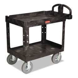Rubbermaid Heavy-Duty Utility Cart, Two-Shelf, 25-7/8w x 45-1/4d x 37-1/8h, Black