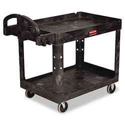 Rubbermaid Heavy-Duty Utility Cart, 2-Shelf, 25-1/4w x 44d x 39h, Black