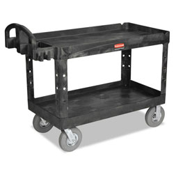 Rubbermaid Heavy-Duty Utility Cart, Two-Shelf, 25-1/4w x 54d x 39-1/4h, Black