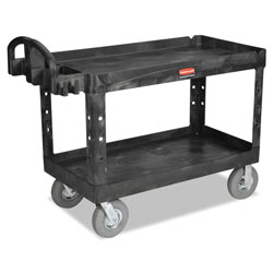 Rubbermaid Utility Cart 2 Shelf Heavy Duty 24x36 Bla