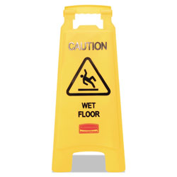 "Rubbermaid ""Caution Wet Floor"" Floor Sign, Plastic, 11 x 1-1/2 x 25, Bright Yellow"