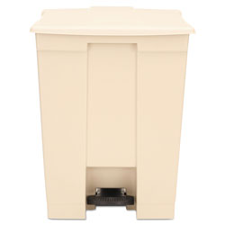 Rubbermaid Step-On Receptacle, Rectangular, Polyethylene, 18gal, Beige