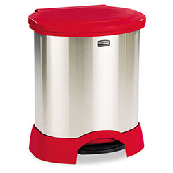Rubbermaid Step-On Metal Indoor Trash Can, 23 Gallon, Red