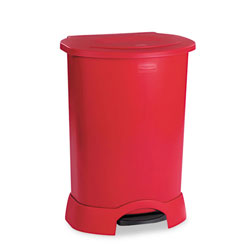 Rubbermaid Rectangle Plastic Step-On Trash Can, 30 Gallon, Red