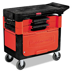 Rubbermaid Black Trades Cart w/Locking Cabinet, Includes 2 Parts Boxes and 4 Parts Bins