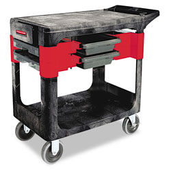 "Rubbermaid Black Trades Cart w/ 5"" Casters Includes 2 Parts Boxes and 4 Parts Bins"