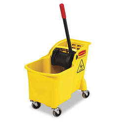 Rubbermaid Tandem 31-Quart Bucket/Wringer Combo, Yellow