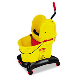 Rubbermaid 35 Quart Dual-Water Down-Press Bucket/Wringer Combo, Yellow