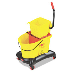Rubbermaid 35 Quart Dual-Water Combo with Sideward Pressure Wringer, Yellow