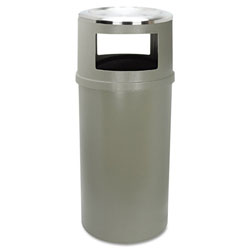 Rubbermaid Round Plastic Outdoor Trash Can, 25 Gallon, Beige