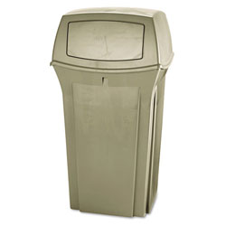 Rubbermaid Square Outdoor Trash Can, 35 GAL, Beige
