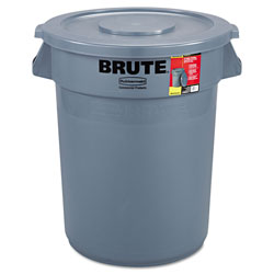 Rubbermaid Brute Container Round, Plastic, 32gal, Gray