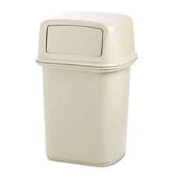 Rubbermaid Square Metal Outdoor Trash Can, 45 Gallon, Beige