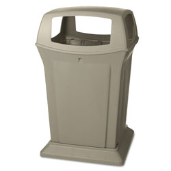 Rubbermaid Square Outdoor Trash Can, 45 Gallon, Beige