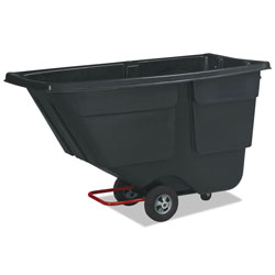 Rubbermaid Rotomolded Tilt Truck, Rectangular, Plastic, 600lb Cap, Black