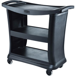 Rubbermaid Executive Cart, 3 Shelves, 300 lb. Total Capacity, Black