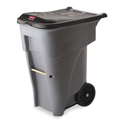 Rubbermaid Brute Roll-Out Plastic Wheeled Trash Can, 65 Gallon, Gray