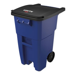 Rubbermaid Roll-Out Plastic Wheeled Trash Can, 50 Gallon, Blue