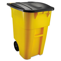 Rubbermaid Roll-Out Plastic Wheeled Trash Can, 50 Gallon, Yellow
