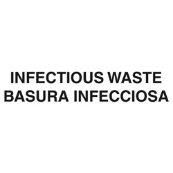 "Rubbermaid Medical Decal, ""Infectious Waste"", 10 x 4, White"