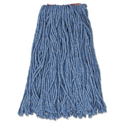 Rubbermaid Cut-End Blend Mop Heads, Cotton/Synthetic, Blue, 16 oz, 1-in. Headband