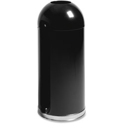 Rubbermaid Round Metal Outdoor Trash Can, 15 Gallon, Black