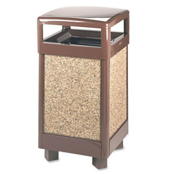 Rubbermaid Square Steel Outdoor Trash Can, 29 Gallon, Brown