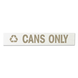 "Rubbermaid Recycling-Label Block-Letter Decal, ""cans Only"", 11 X 1, White"