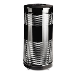 Rubbermaid Round Metal Outdoor Trash Can, 25 Gallon, Black